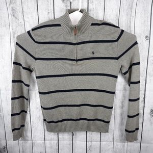 Polo Ralph Lauren Gray Blue Stripe Zip Sweater - S